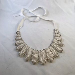 Faux Pearl and Rhinestone Collar Style Necklace
